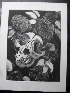 monoprint of an animal skull and dahlias