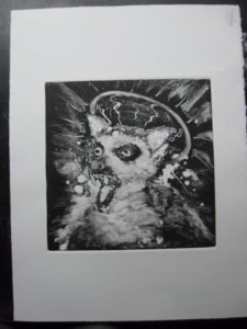 monoprint of an angry lemur with a halo