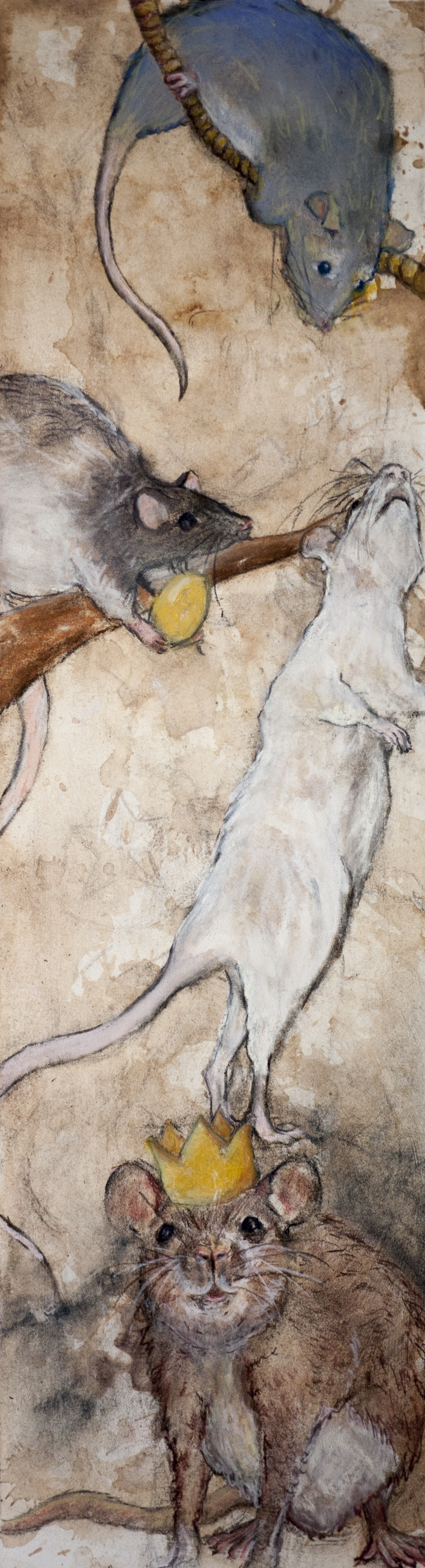 Four rats of various breeds arranged on a long format picture. The middle rat is holding a golden egg, and the lowest rat is wearing a god crown.