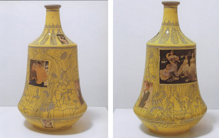 A yellow vase with photo images of a couple in sweaters and one of small figurines. The vase is covered in pornagraphic BDSM scenes done in sgraffito in an art nouveau style.